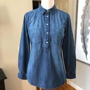 Merona blue chambray 1/2 button cotton tunic top